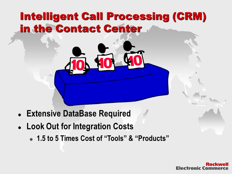 Intelligent Call Processing (CRM) in the Contact Center Extensive DataBase Required Look Out for Integration Costs  1.5 to 5 Times Cost of Tools & Products