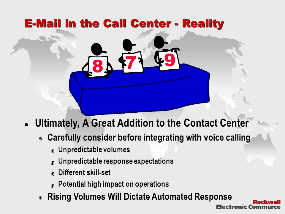 E-Mail in the Call Center - Reality Ultimately, A Great Addition to the Contact Center  Carefully consider before integrating with voice calling 4 Unpredictable volumes 4 Unpredictable response expectations 4 Different skill-set 4 Potential high impact on operations  Rising Volumes Will Dictate Automated Response