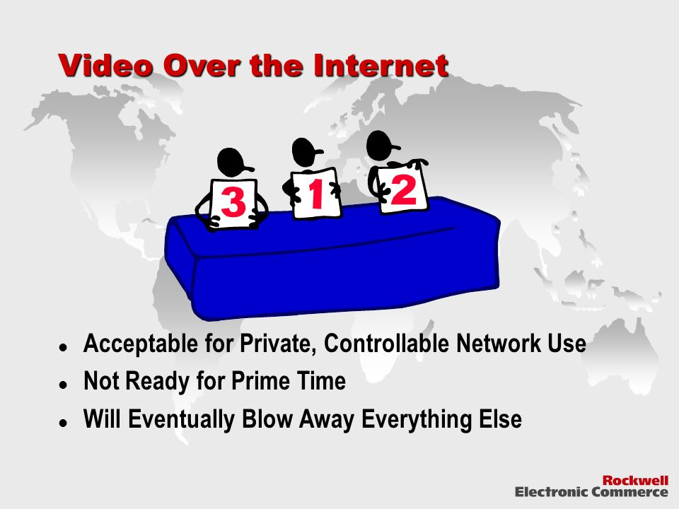 Video Over the Internet Acceptable for Private, Controllable Network Use Not Ready for Prime Time Will Eventually Blow Away Everything Else