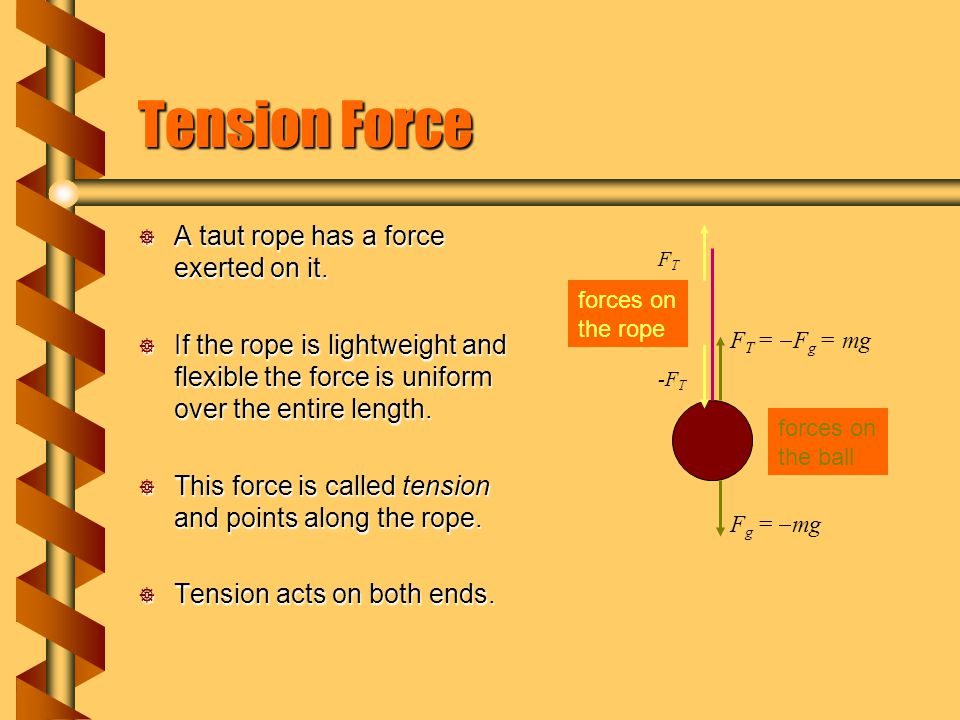 Tension Force  A taut rope has a force exerted on it.  If the rope is lightweight and flexible the force is uniform over the entire length.  This f