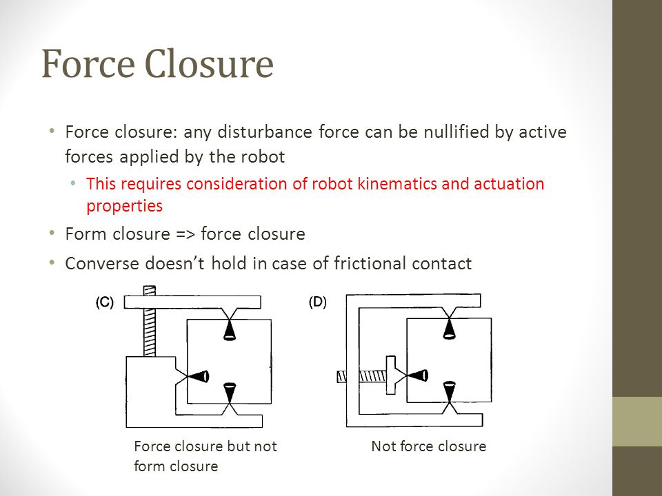 Force Closure Force closure: any disturbance force can be nullified by active forces applied by the robot This requires consideration of robot kinematics and actuation properties Form closure => force closure Converse doesn't hold in case of frictional contact Force closure but not form closure Not force closure