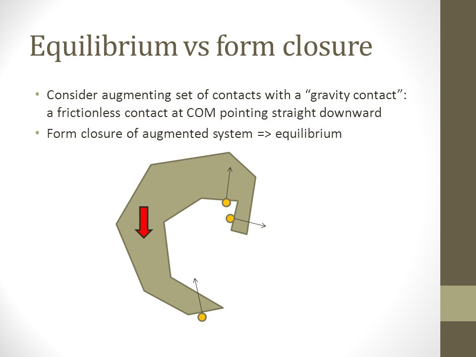 Equilibrium vs form closure Consider augmenting set of contacts with a gravity contact : a frictionless contact at COM pointing straight downward Form closure of augmented system => equilibrium