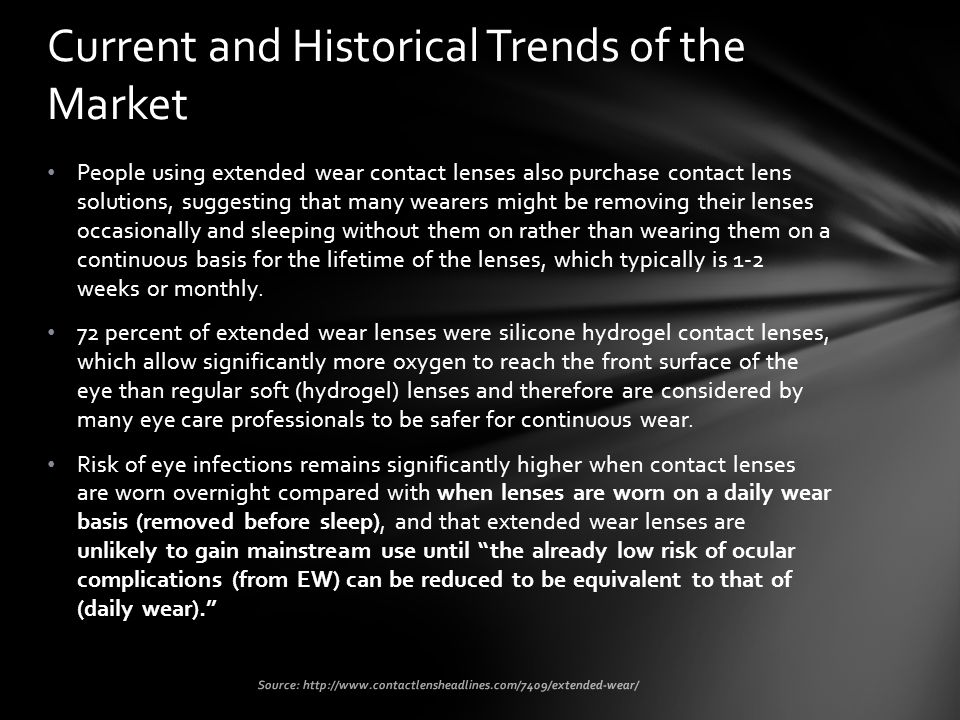 People using extended wear contact lenses also purchase contact lens solutions, suggesting that many wearers might be removing their lenses occasionally and sleeping without them on rather than wearing them on a continuous basis for the lifetime of the lenses, which typically is 1-2 weeks or monthly.