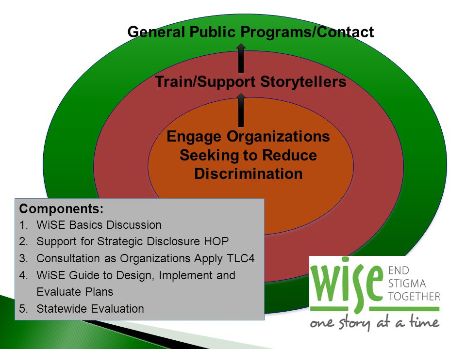 Engage Organizations Seeking to Reduce Discrimination Train/Support Storytellers General Public Programs/Contact Components: 1.WiSE Basics Discussion
