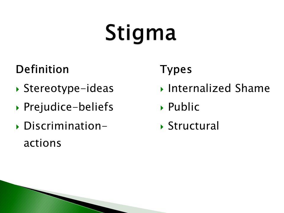 8 Stigma Definition and Types Stigma Definition  Stereotype-ideas  Prejudice-beliefs  Discrimination- actions Types  Internalized Shame  Public 