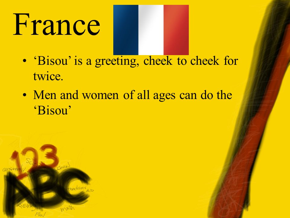 France 'Bisou' is a greeting, cheek to cheek for twice.