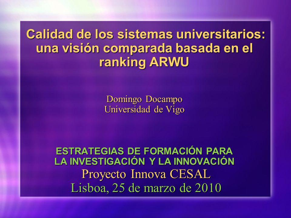 Calidad de los sistemas universitarios: una visión comparada basada en el ranking ARWU Domingo Docampo Universidad de Vigo ESTRATEGIAS DE FORMACIÓN PARA LA INVESTIGACIÓN Y LA INNOVACIÓN Proyecto Innova CESAL Lisboa, 25 de marzo de 2010 Calidad de los sistemas universitarios: una visión comparada basada en el ranking ARWU Domingo Docampo Universidad de Vigo ESTRATEGIAS DE FORMACIÓN PARA LA INVESTIGACIÓN Y LA INNOVACIÓN Proyecto Innova CESAL Lisboa, 25 de marzo de 2010