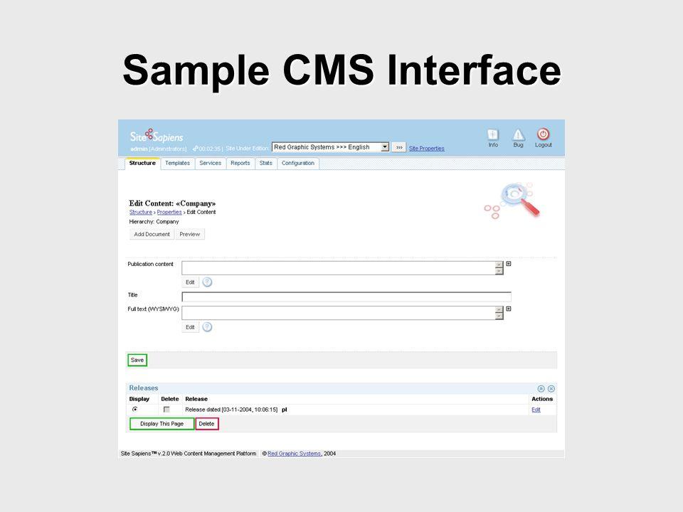 Sample CMS Interface
