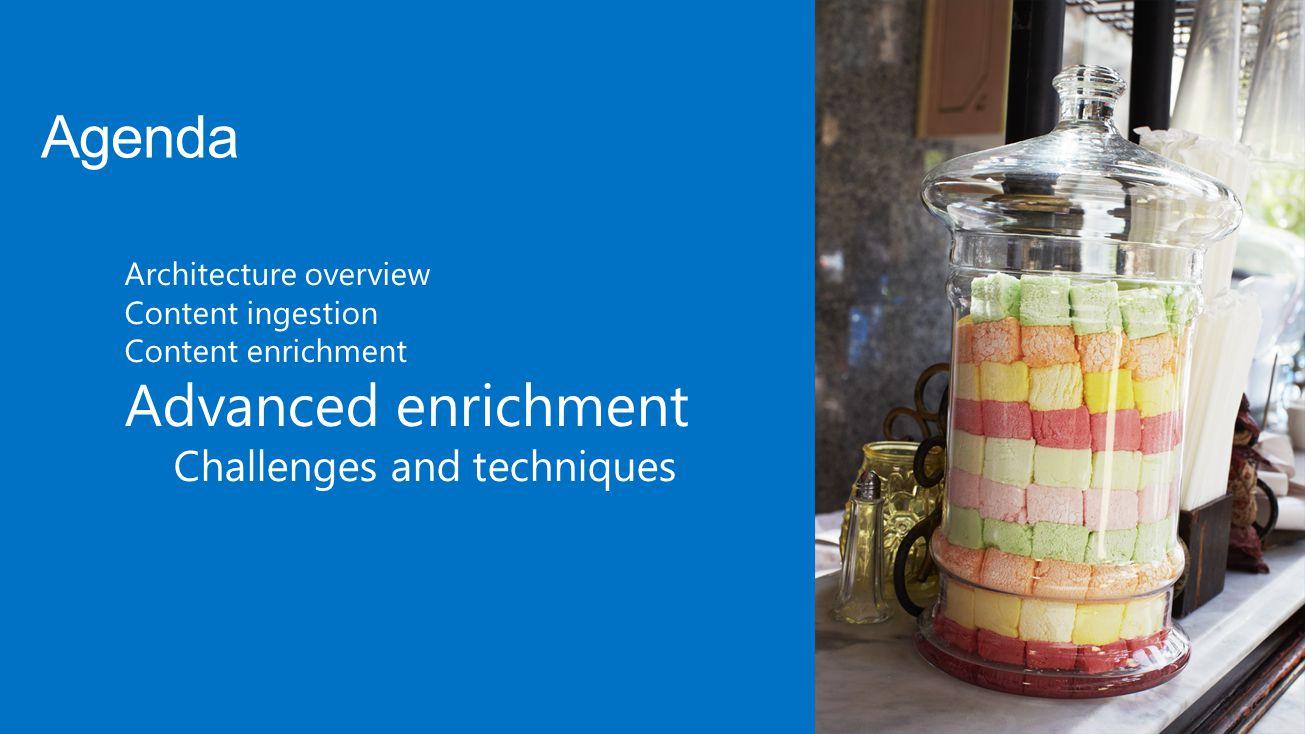 Architecture overview Content ingestion Content enrichment Advanced enrichment Challenges and techniques