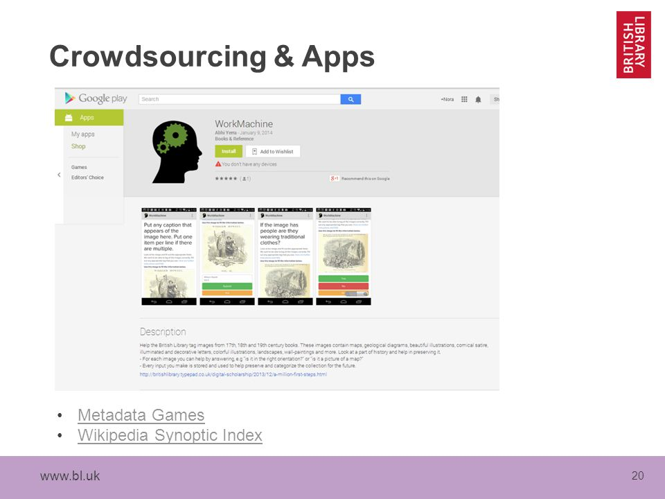20 Crowdsourcing & Apps Metadata Games Wikipedia Synoptic Index