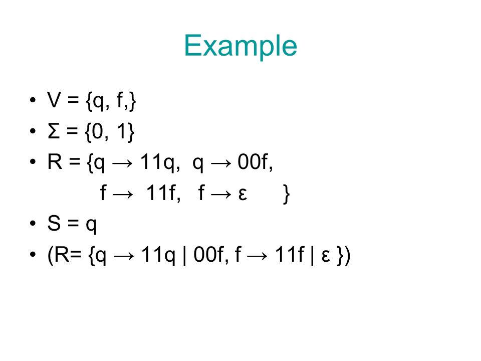 Example V = {q, f,} Σ = {0, 1} R = {q → 11q, q → 00f, f → 11f, f → ε } S = q (R= {q → 11q | 00f, f → 11f | ε })