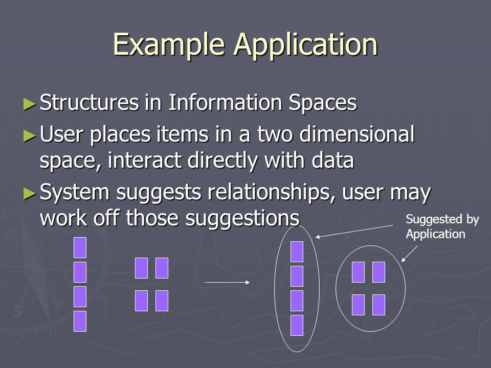 Example Application ► Structures in Information Spaces ► User places items in a two dimensional space, interact directly with data ► System suggests relationships, user may work off those suggestions Suggested by Application