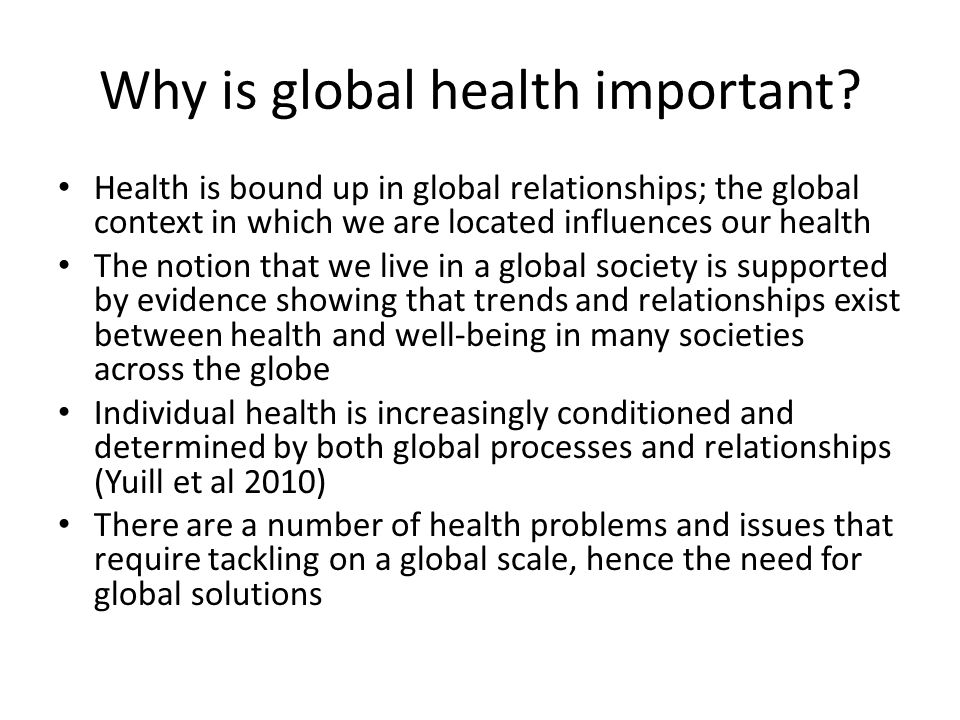 Why is global health important.