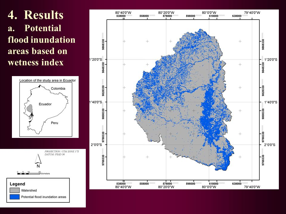 4. Results a. Potential flood inundation areas based on wetness index