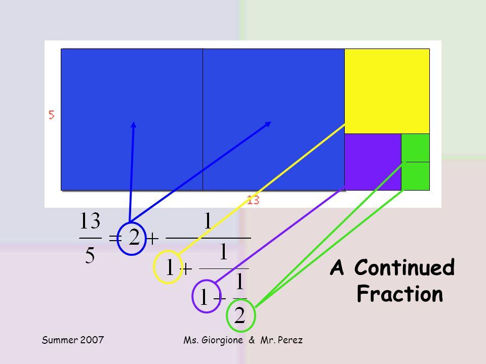 Summer 2007Ms. Giorgione & Mr. Perez A Continued Fraction