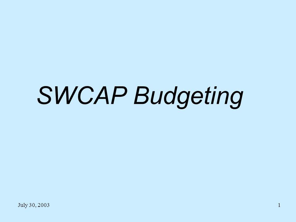 July 30, 20031 SWCAP Budgeting
