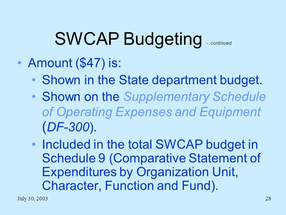 July 30, 200328 SWCAP Budgeting - continued Amount ($47) is: Shown in the State department budget.