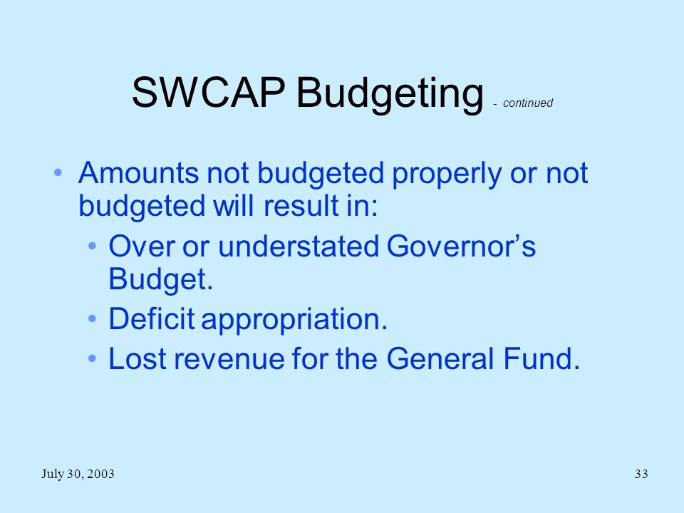 July 30, 200333 SWCAP Budgeting - continued Amounts not budgeted properly or not budgeted will result in: Over or understated Governor's Budget.