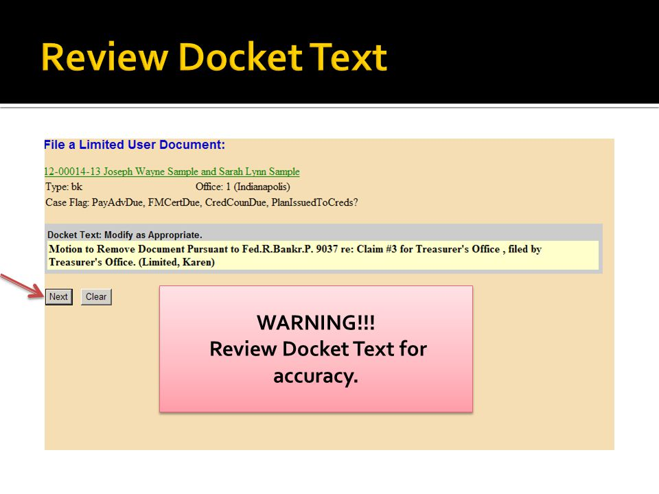 WARNING!!! Review Docket Text for accuracy. WARNING!!! Review Docket Text for accuracy.
