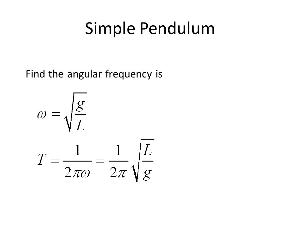 Simple Pendulum Find the angular frequency is