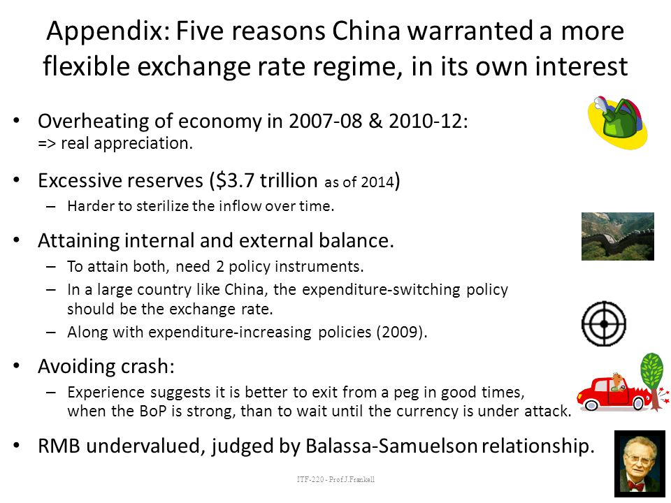 ITF-220 - Prof.J.Frankell Appendix: Five reasons China warranted a more flexible exchange rate regime, in its own interest Overheating of economy in 2007-08 & 2010-12: => real appreciation.
