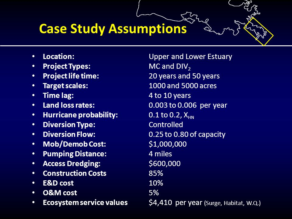 Case Study Assumptions Location:Upper and Lower Estuary Project Types:MC and DIV 2 Project life time: 20 years and 50 years Target scales: 1000 and 5000 acres Time lag: 4 to 10 years Land loss rates: 0.003 to 0.006 per year Hurricane probability: 0.1 to 0.2, X HN Diversion Type: Controlled Diversion Flow:0.25 to 0.80 of capacity Mob/Demob Cost:$1,000,000 Pumping Distance: 4 miles Access Dredging:$600,000 Construction Costs 85% E&D cost 10% O&M cost 5% Ecosystem service values$4,410 per year (Surge, Habitat, W.Q.)