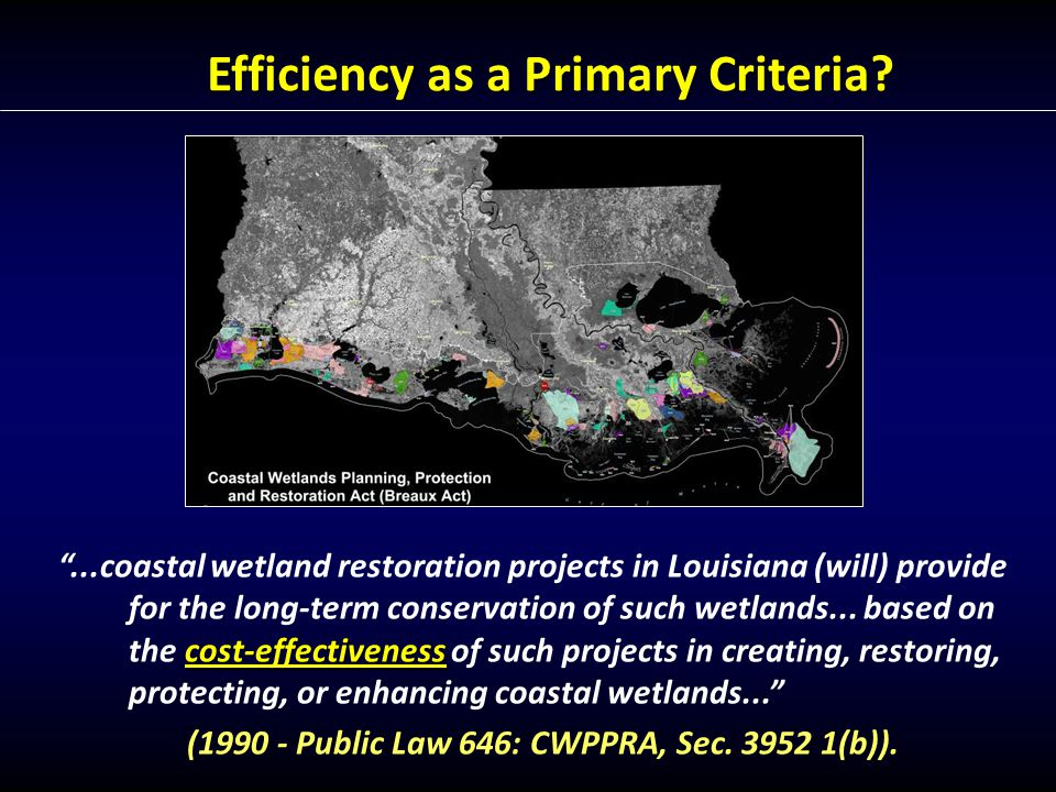 cost-effectiveness ...coastal wetland restoration projects in Louisiana (will) provide for the long-term conservation of such wetlands...