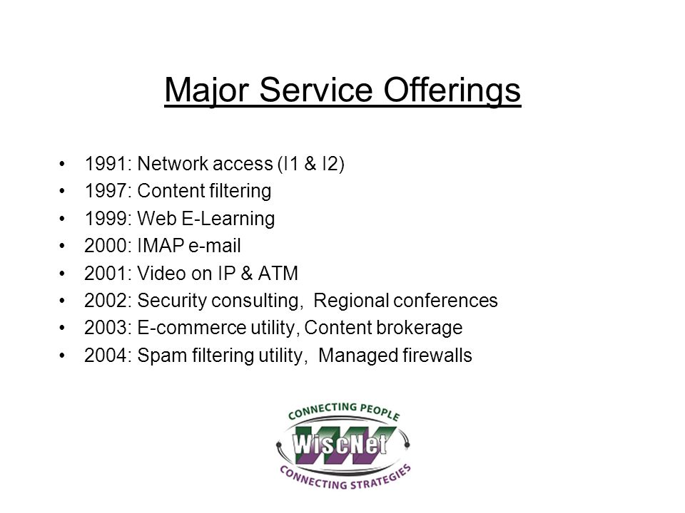 Major Service Offerings 1991: Network access (I1 & I2) 1997: Content filtering 1999: Web E-Learning 2000: IMAP e-mail 2001: Video on IP & ATM 2002: Se