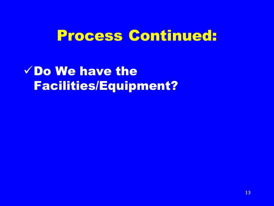 13 Process Continued: Do We have the Facilities/Equipment?