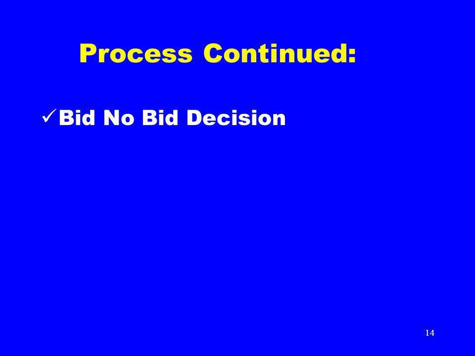 14 Process Continued: Bid No Bid Decision