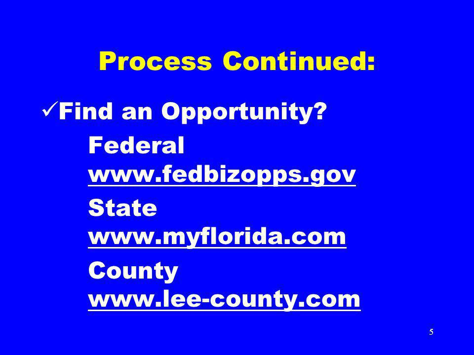 5 Process Continued: Find an Opportunity? Federal www.fedbizopps.gov www.fedbizopps.gov State www.myflorida.com www.myflorida.com County www.lee-count
