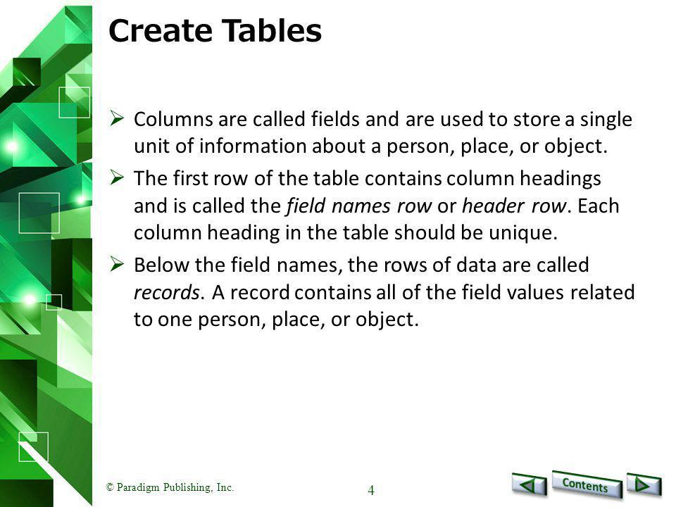 © Paradigm Publishing, Inc.5 Create Tables - continued To create a table: 1.Select desired range.