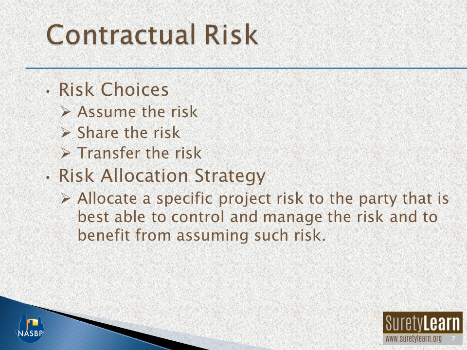 Risk Choices  Assume the risk  Share the risk  Transfer the risk Risk Allocation Strategy  Allocate a specific project risk to the party that is b