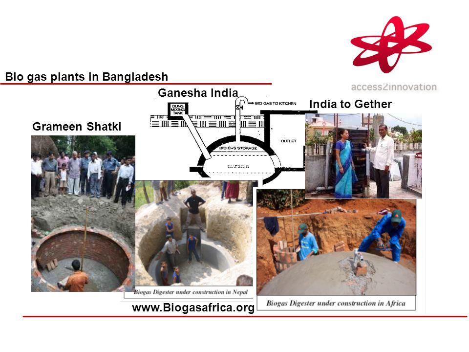Bio gas plants in Bangladesh Ganesha India www.Biogasafrica.org Grameen Shatki India to Gether