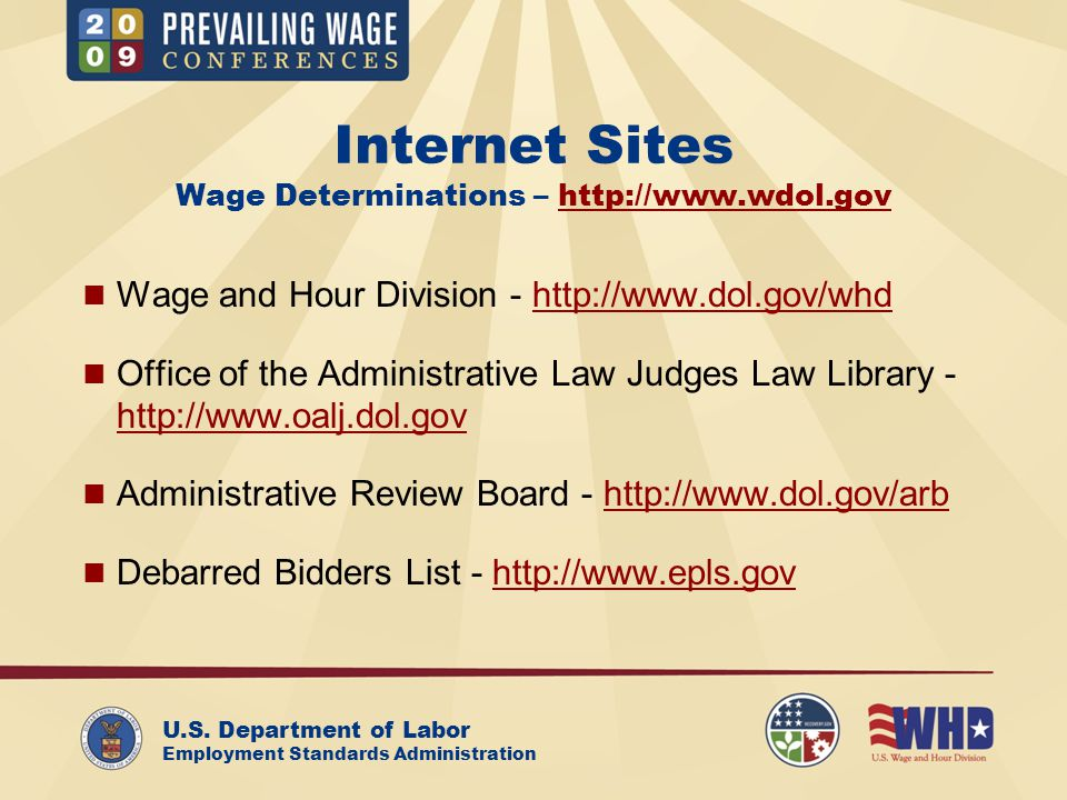 U.S.Department of Labor Employment Standards Administration Contracts in the US (29 C.F.R.