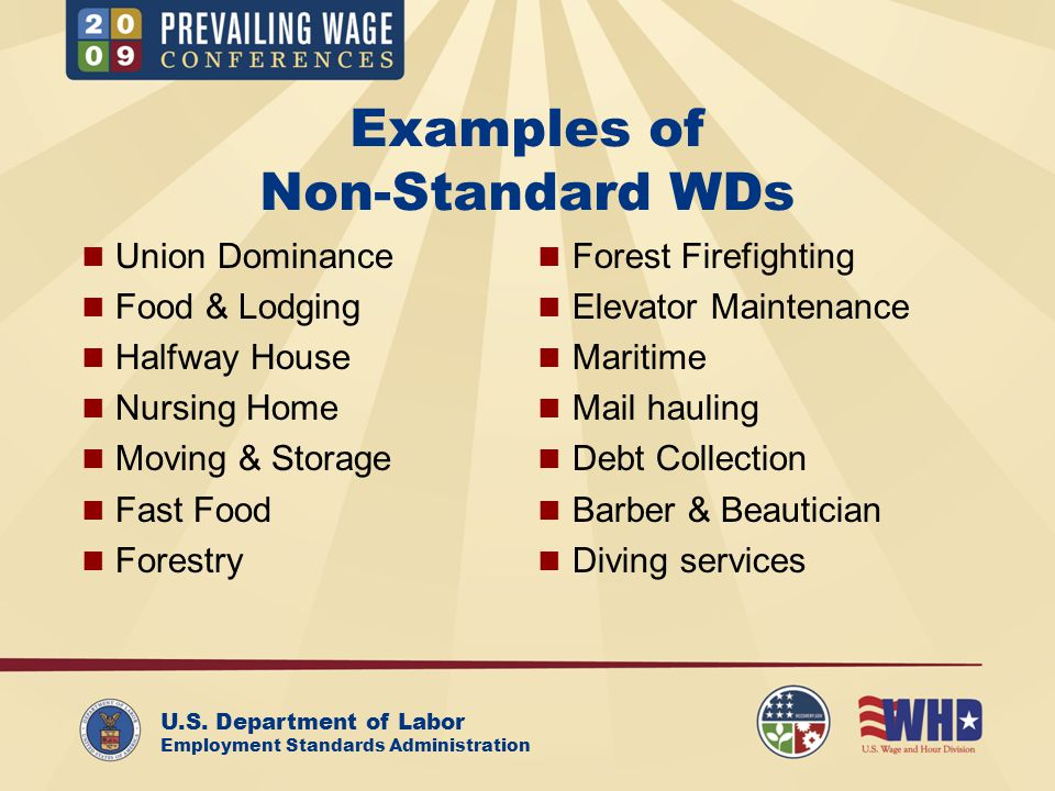 U.S. Department of Labor Employment Standards Administration Examples of Non-Standard WDs Union Dominance Food & Lodging Halfway House Nursing Home Mo