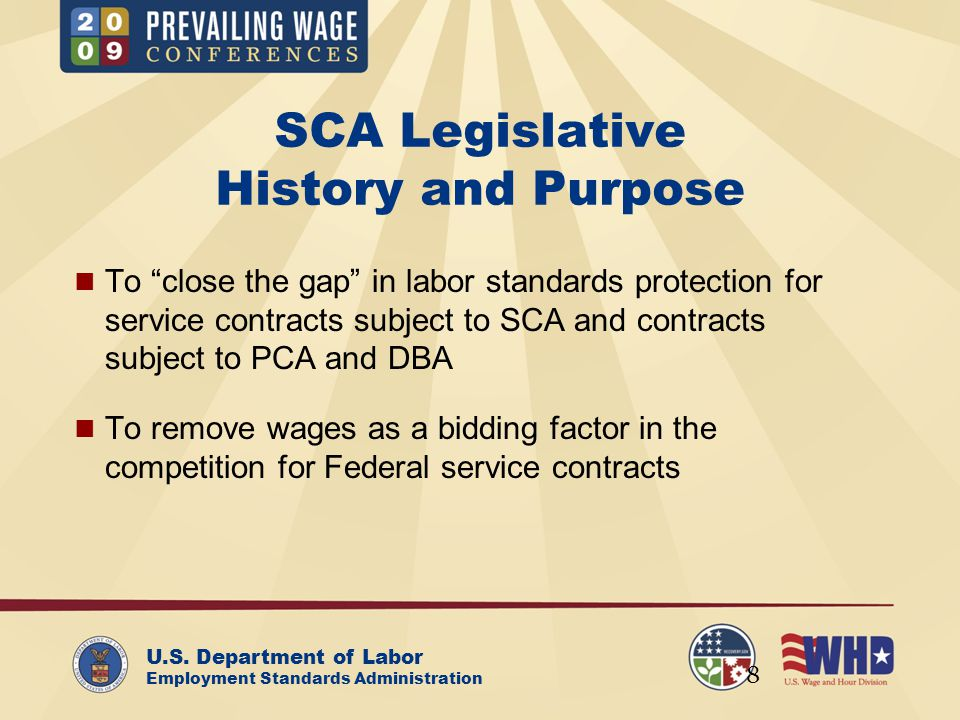 U.S.Department of Labor Employment Standards Administration SCA Requirements (29 C.F.R.