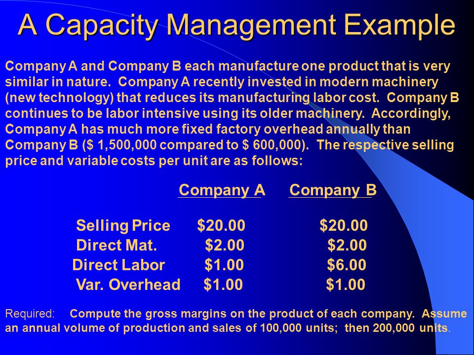 A Capacity Management Example Company A and Company B each manufacture one product that is very similar in nature. Company A recently invested in mode