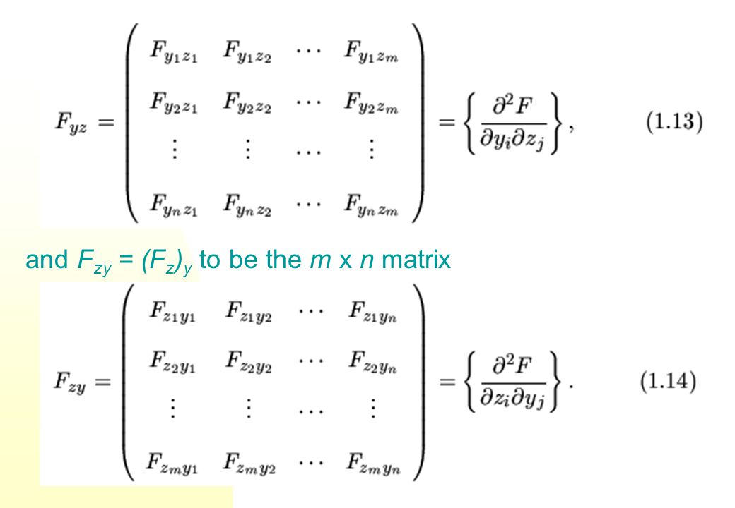 f y will denote the k x n matrix Matrices f z and f y are known as Jacobian matrices.