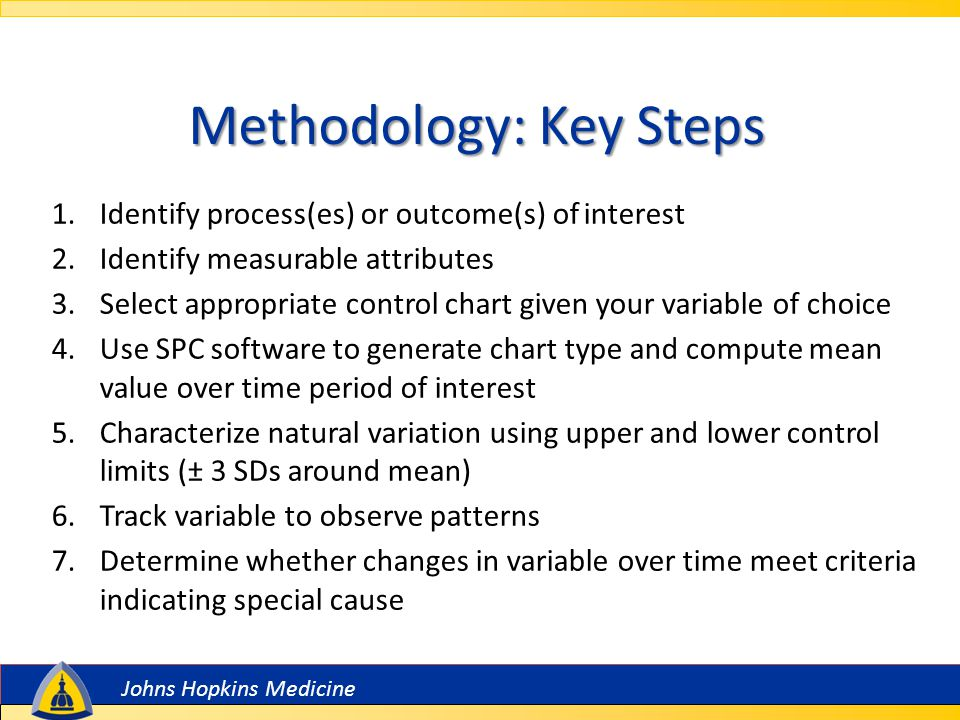 Johns Hopkins Medicine Methodology: Key Steps 1.Identify process(es) or outcome(s) of interest 2.Identify measurable attributes 3.Select appropriate control chart given your variable of choice 4.Use SPC software to generate chart type and compute mean value over time period of interest 5.Characterize natural variation using upper and lower control limits (± 3 SDs around mean) 6.Track variable to observe patterns 7.Determine whether changes in variable over time meet criteria indicating special cause