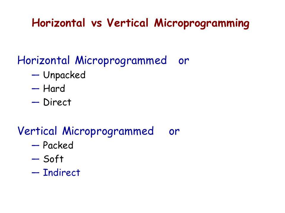Horizontal vs Vertical Microprogramming Horizontal Microprogrammed or — Unpacked — Hard — Direct Vertical Microprogrammed or — Packed — Soft — Indirec