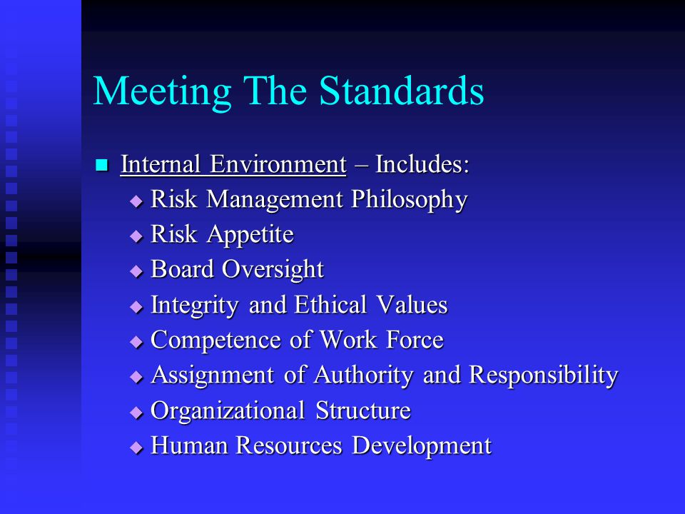 Meeting The Standards Internal Environment – Includes: Internal Environment – Includes:  Risk Management Philosophy  Risk Appetite  Board Oversight  Integrity and Ethical Values  Competence of Work Force  Assignment of Authority and Responsibility  Organizational Structure  Human Resources Development