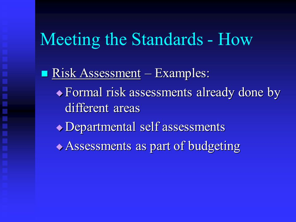 Meeting the Standards - How Risk Assessment – Examples: Risk Assessment – Examples:  Formal risk assessments already done by different areas  Departmental self assessments  Assessments as part of budgeting