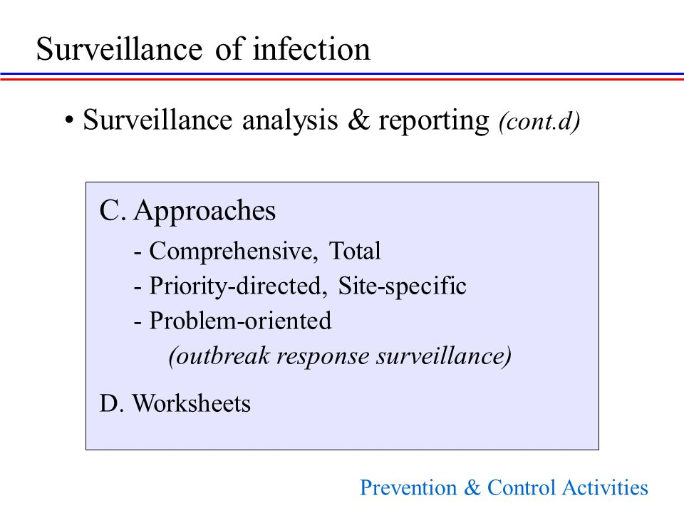 C. Approaches - Comprehensive, Total - Priority-directed, Site-specific - Problem-oriented (outbreak response surveillance) D. Worksheets Surveillance