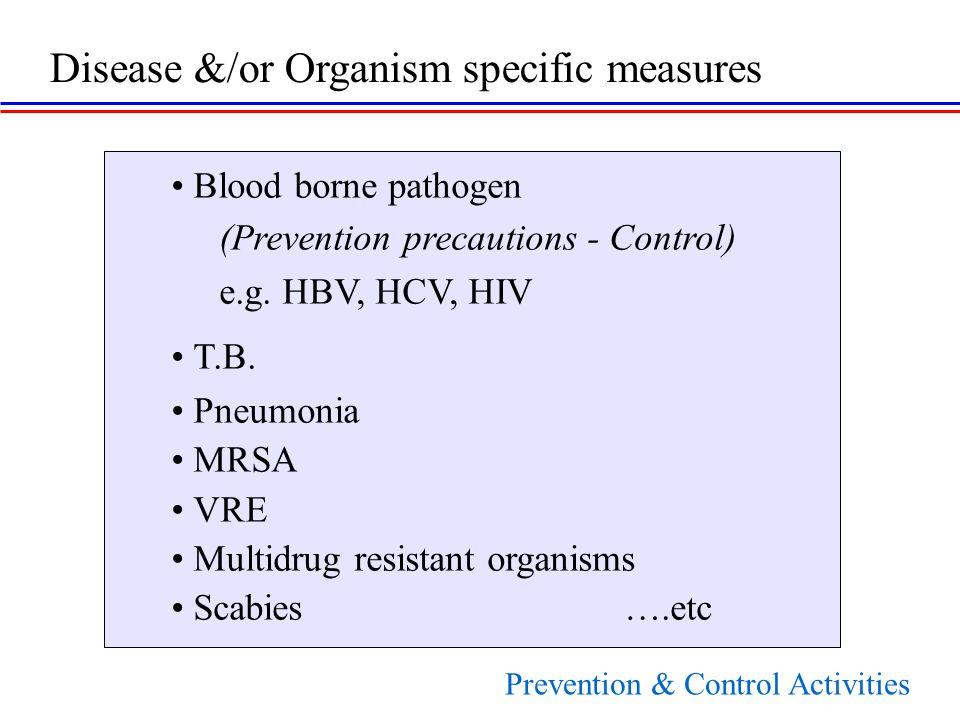 Blood borne pathogen (Prevention precautions - Control) e.g.