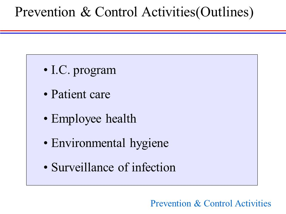 I.C. program Patient care Employee health Environmental hygiene Surveillance of infection Prevention & Control Activities(Outlines) Prevention & Contr