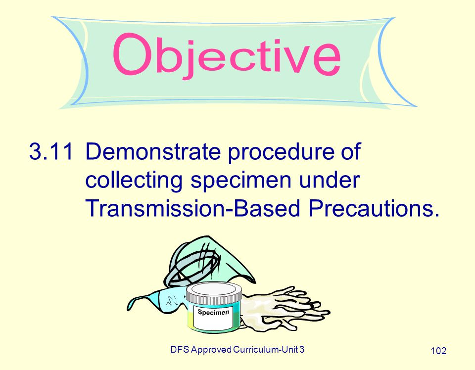 DFS Approved Curriculum-Unit 3 102 3.11Demonstrate procedure of collecting specimen under Transmission-Based Precautions.