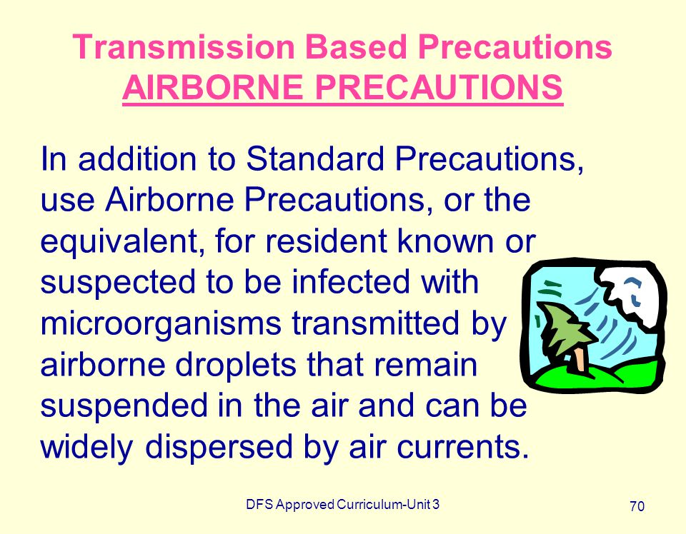 DFS Approved Curriculum-Unit 3 70 Transmission Based Precautions AIRBORNE PRECAUTIONS In addition to Standard Precautions, use Airborne Precautions, o