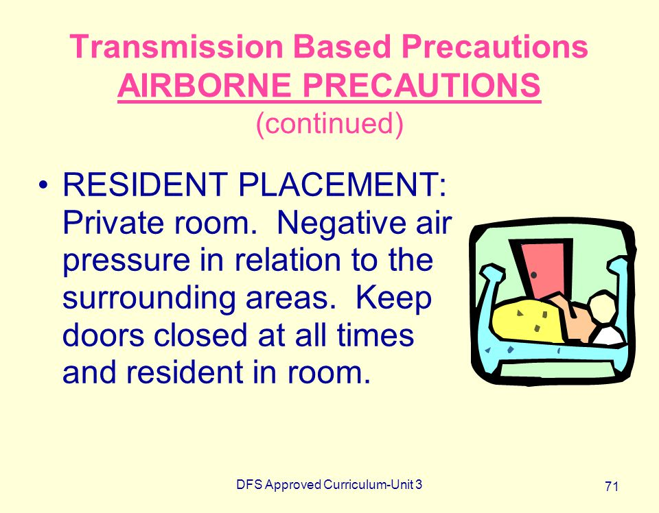DFS Approved Curriculum-Unit 3 71 Transmission Based Precautions AIRBORNE PRECAUTIONS (continued) RESIDENT PLACEMENT: Private room. Negative air press