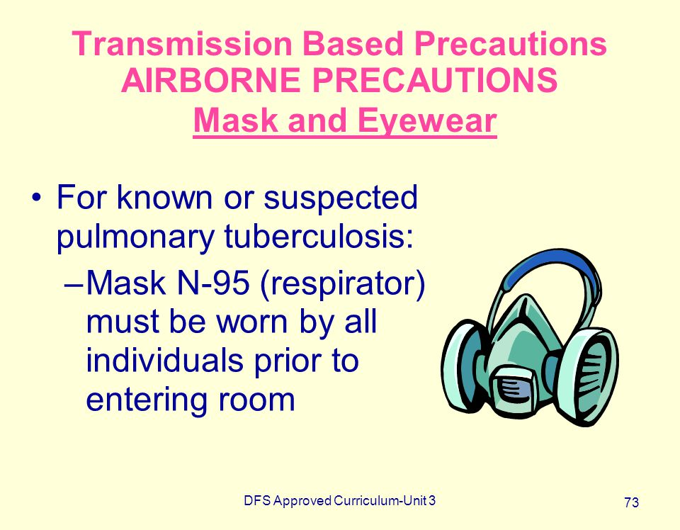 DFS Approved Curriculum-Unit 3 73 Transmission Based Precautions AIRBORNE PRECAUTIONS Mask and Eyewear For known or suspected pulmonary tuberculosis: